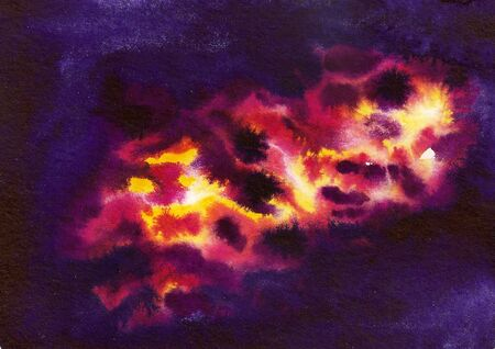 Watercolor cosmic purple background with colorful nebula Stock Photo