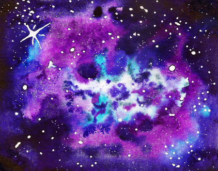 Abstract watercolor background like as cosmic nebula or galaxy Stock Photo