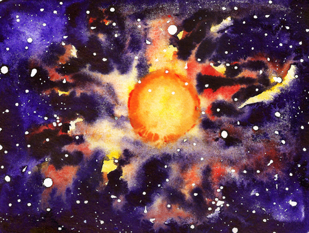 Abstract watercolor background with big star like as Sun Stock Photo