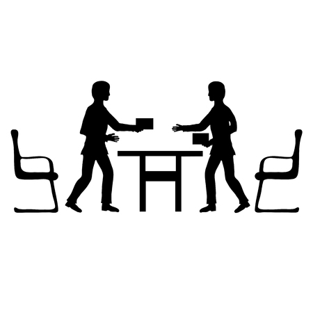 Two businessmen make a deal, black&white image of finally moment conclusion of a contract