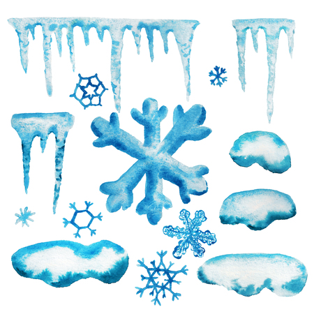 Set of watercolor objects for winter theme. Icicles, snowflakes and snow cap for design your text or images Stok Fotoğraf
