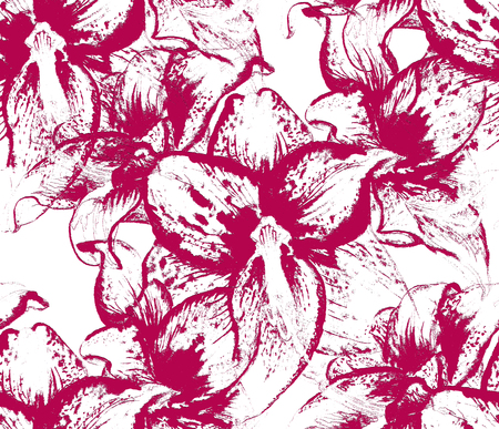 Seamless pattern with flowers of amaryllis on white background