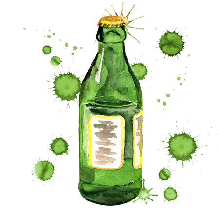 Watercolor image of green glass bottle with paint blots on white background