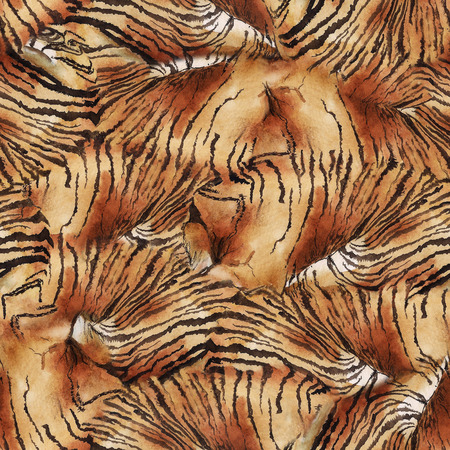 Watercolor seamless pattern with striped skin of tiger. Imagens - 117099374