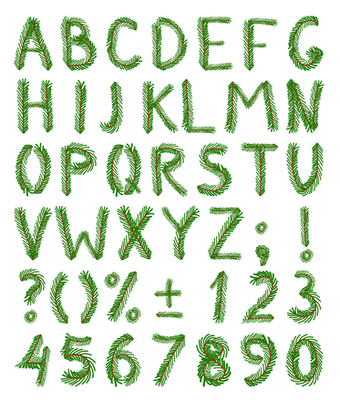 Fir tree green font include numbers and punctuation mark 일러스트