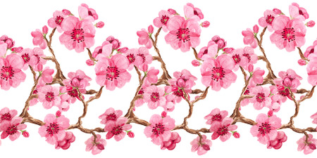 Horizontal seamless pattern with watercolor image of sakura blossom. Good design for border or decorative stripe.