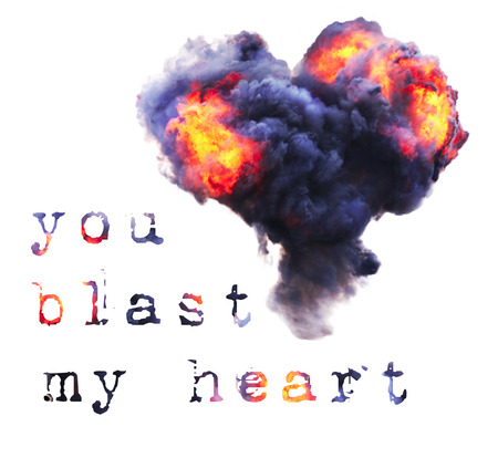 Colorful explosion with fire and smoke on white background. Shape of heart