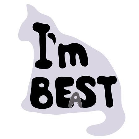 Monochrome illustration with text joke Im best or Im beast.