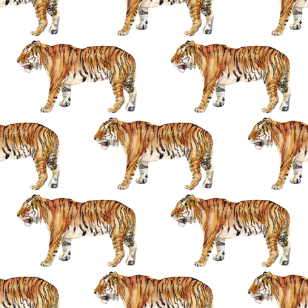 Seamless pattern with watercolor image of tiger. Good design for wrapping paper, textile, scrap booking Фото со стока