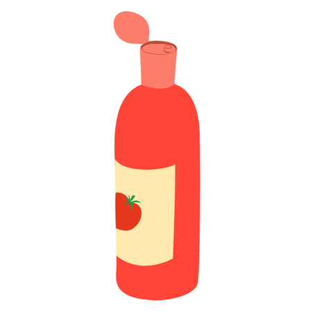 Cartoon illustration with red ketchup bottle isolated on white background. Tomato sauce.