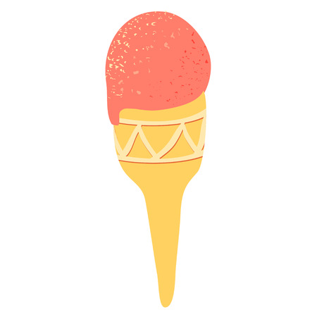 Illustration with pink ice cream cone on white background. Yummy sweet food. Vettoriali