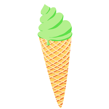 Illustration with green ice cream cone on white background. Yummy sweet food.