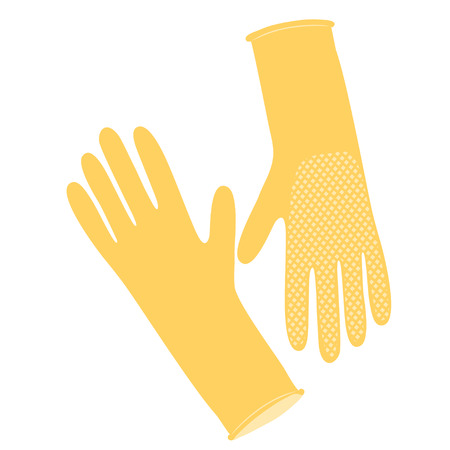 Yellow rubber gloves for hand protection. Cleaning service.