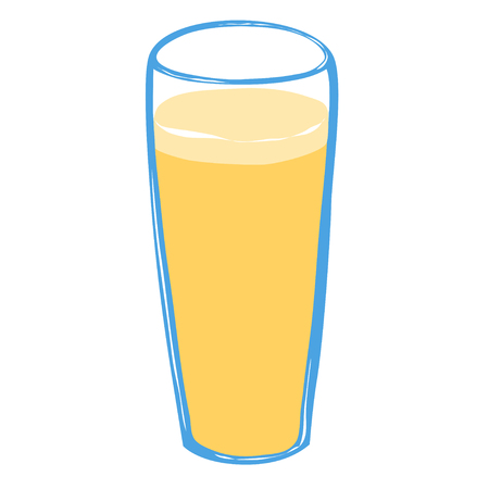 Glass of light beer or fresh juice on white background. Beverage concept.