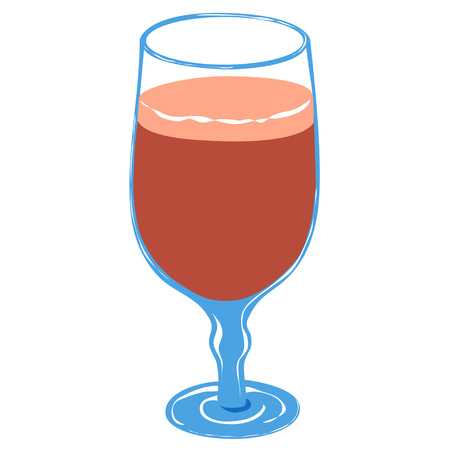 Glass of cherry beer on white background. Tasty beverage for woman. 일러스트
