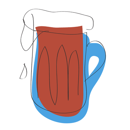 Dark beer mug on white background. Fresh drink concept. Food silhouette icon. 일러스트