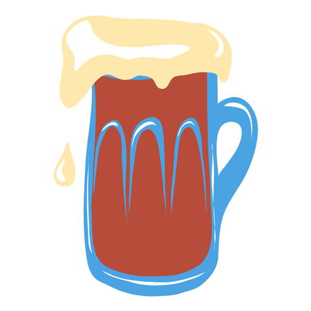 Big mug of the dark beer on white background. Cool refreshment beverage. Oktoberfest concept.