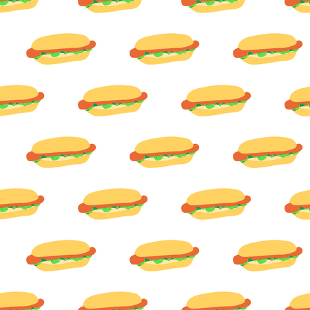 Seamless pattern with hot dogs on white background. Good design for wrapping paper, textile, website backdrop or wallpaper. 일러스트
