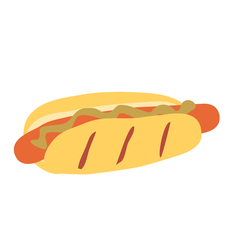 Simple illustration of hot dog with mustard isolated on white background. Symbol of fast food