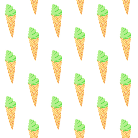 Seamless pattern with ice cream on white background. Good design for wrapping paper, textile, website backdrop or wallpaper. Summer street food concept.