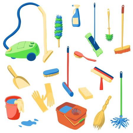 Set of tools for cleaning. Buckets, mops, dustpan, sponge, squeegee, spray bottle, duster, brushes. Cartoon vector illustration.