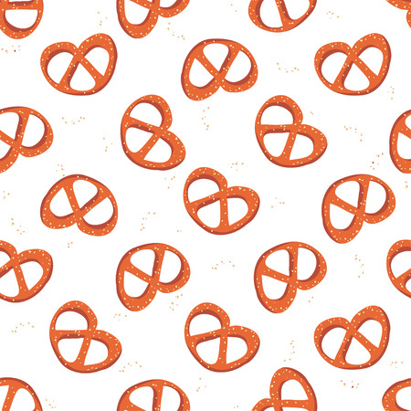 Seamless pattern with pretzels and salt on white background. Good design for wrapping paper, textile, website backdrop or wallpaper. Oktoberfest concept. Illustration