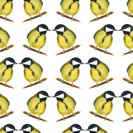 Seamless pattern with tomtits on white background. Good design for textile, wrapping paper, backdrop or wallpaper. Stock Photo