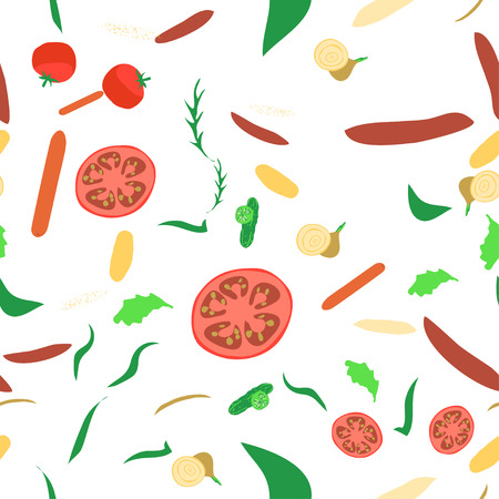 Seamless pattern with vegetables on white background. Good design for textile, wrapping paper, backdrop or wallpaper. Stock Illustratie