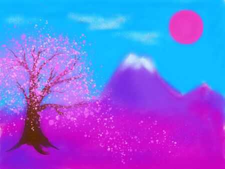 Japanese cherry blossom. Spring orient concept. Digital painting. Imagens