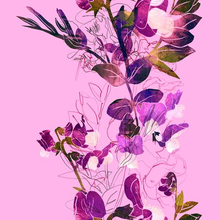 Vertical seamless stripe with vetch flowers.  Good idea for floral border, wallpaper, wrapping paper etc. Mix-media design with digital painting and watercolor texture.