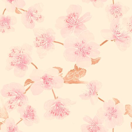 Seamless pattern with apple tree or sacura blossom. Mix-media design. Digital painting and watercolor textures. Good design for textile, wrapping paper, backdrop or wallpaper. Reklamní fotografie
