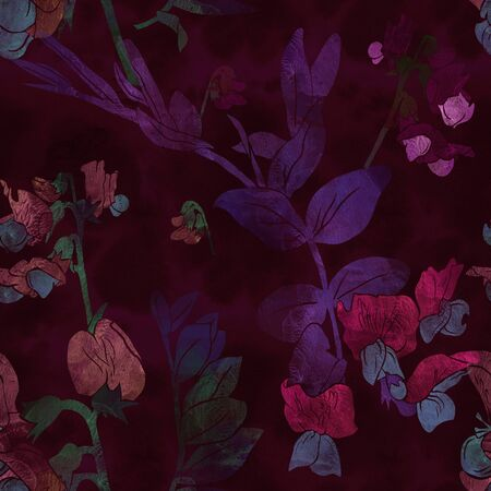 Seamless pattern with flowers and leaves of garden vetch. Mix-media design with digital illustration and watercolor textures. Good design for textile, wrapping paper, backdrop or wallpaper. Reklamní fotografie