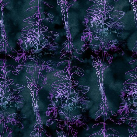 Seamless pattern with fireweed flowers. Mix-media design. Digital painting and watercolor textures. Good design for textile, wrapping paper, backdrop or wallpaper.