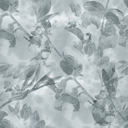 Seamless pattern with flowers and leaves of garden vetch. Digital illustration and watercolor textures. Nature ecological concept. Good design for textile, wrapping paper, backdrop or wallpaper.
