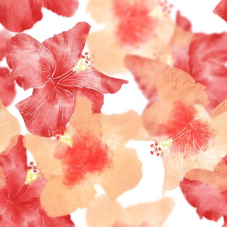 Seamless pattern with hibiscuses