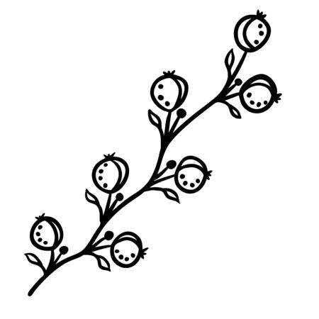 Stylized berries silhouette in doodle style
