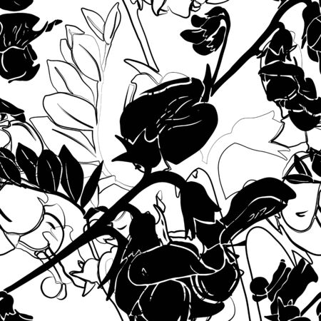 Seamless pattern with flowers and leaves of garden vetch.