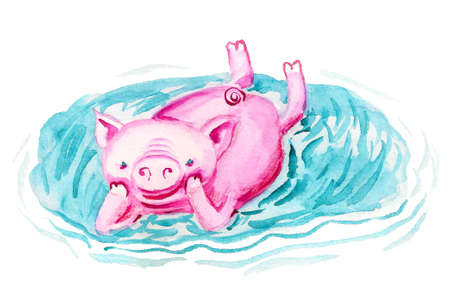 Happy pig is relaxing in the puddle. Watercolor image isolated on white background. Imagens