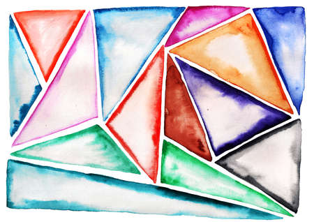 Abstract background with bright watercolor triangles. Imagens