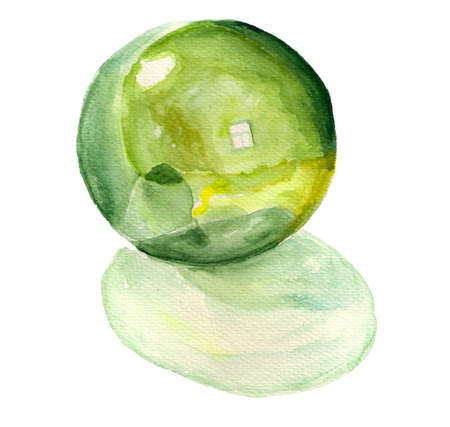 Green glass ball with shadow. Watercolor image on white background.