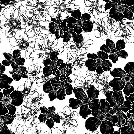 Seamless pattern with black silhouette of flowers isolated on white background. Ilustração