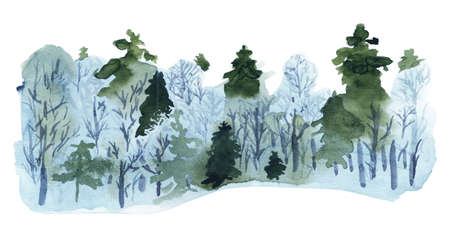 Winter forest watercolor. Good design for seasonal greeting cards, flyers etc. Ecological and enviroment. Imagens