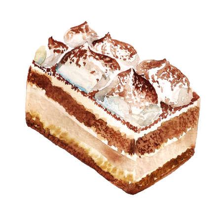 Tiramisu italian dessert. Watercolor hand drawn illustration isolated on white background.