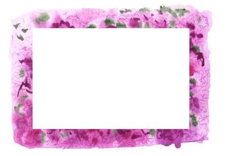 Frame with bougainvilea flowers. Abstract purple-green watercolor bckground. Hand drawn illustration isolated on white background. Imagens