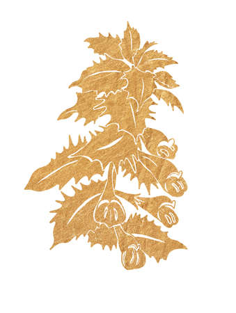 Gold silhouette of forest flowers with leaves isolated on white background. Imagens