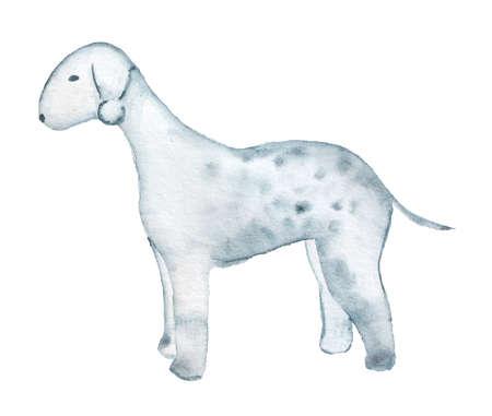 Watercolor image of Bedlington Terrier