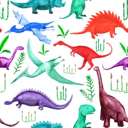 Seamless pattern with cartoon dinosaurs Imagens