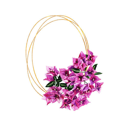 Golden geometric frame with flowers of bougainvillea