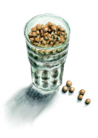 Glass of dried peas seeds
