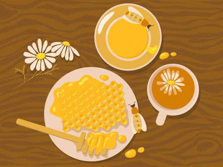 Chamomile tea and honey Ilustração